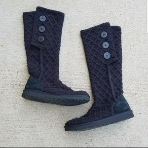 Ugg Black Knee High Sweater Boots
